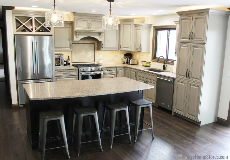 Farmhouse kitchen design in Kewanee, IL with design and materials by Village Home Stores.