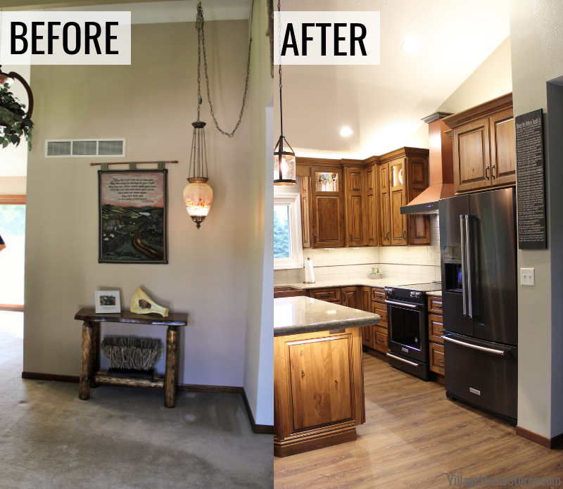Before and after photos of a wall removed to open up for a new kitchen design in an East Moline Quad Cities home. Complete start to finish remodel by the kitchen experts at Village Home Stores.