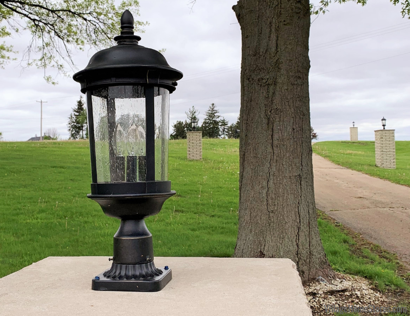 Exterior lantern lighting outside of a Kewanee, IL home by Village Home Stores.