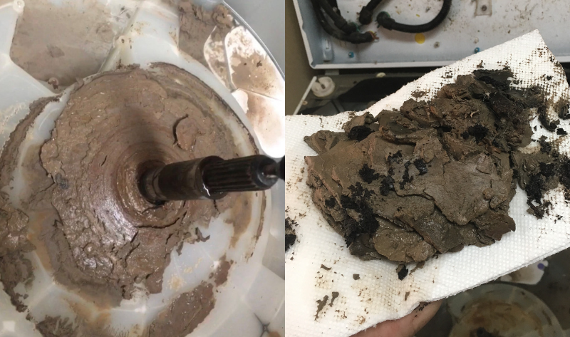 A (gross) peek inside of some machines that have build-up from pod laundry detergents. Village Home Stores service department recommends instead HE Excelsior Detergent for your washer.