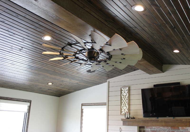 "Windmill fan 60"" in Farmhouse great room area in a Kewanee, IL home."