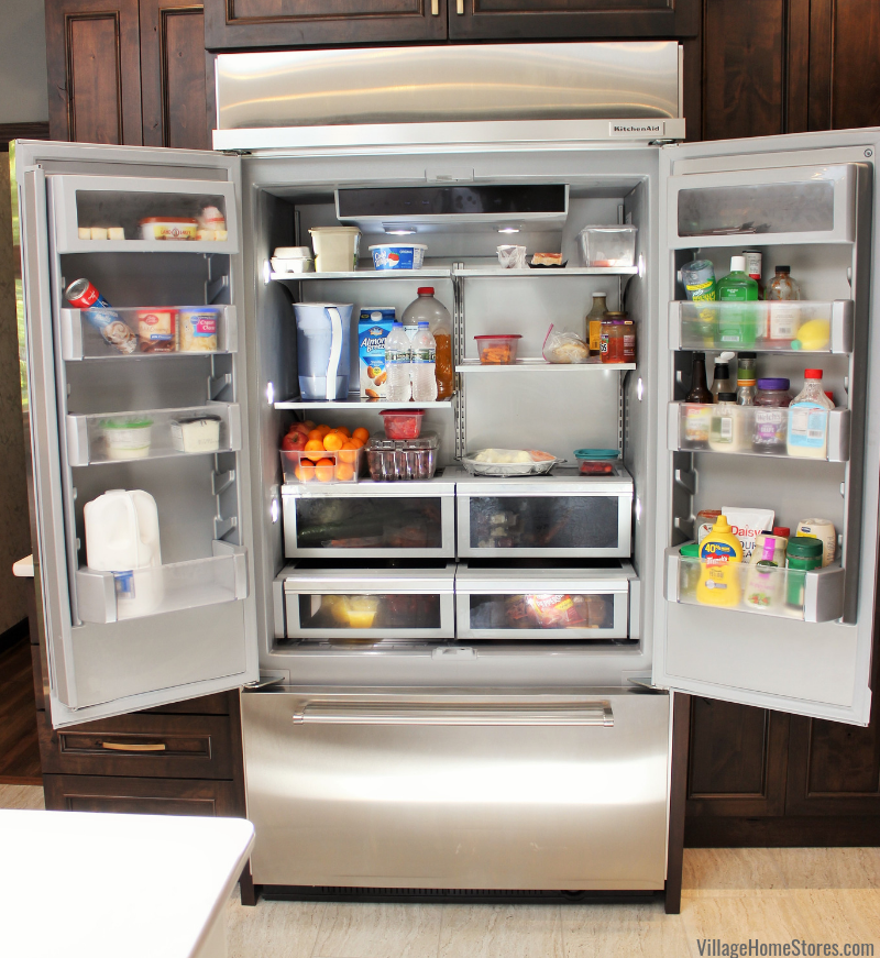 Interior of KitchenAid built in French Door refrigerator in Stainless Steel finish.