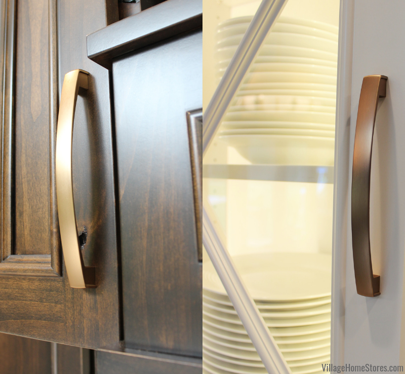 The same Merrick handle was used throughout the home remodel. This soft brushed gold finish looks great against woodgrain or painted white.