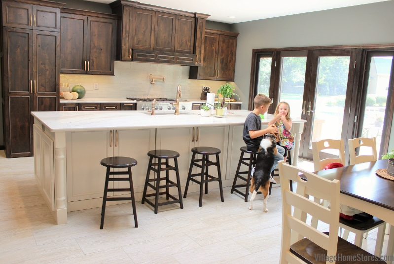 Quad Cities area kitchen with custom Amish cabinetry and Cambria quartz counters. Kitchen designed by Rachel Tingley at Village Home Stores.