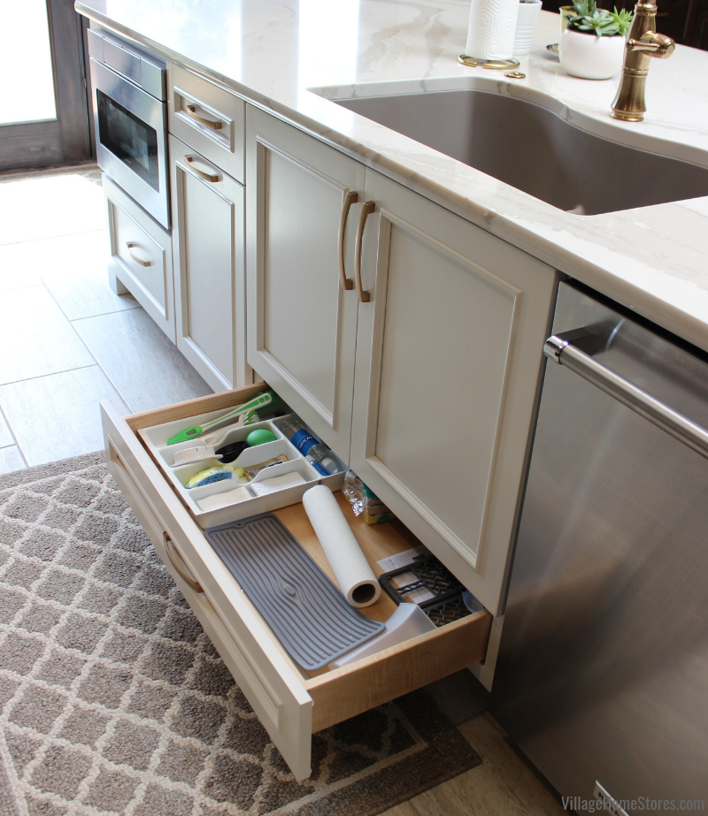 Kitchen sinkbase cabinet with lower drawer. Kitchen design and complete remodel by Village Home Stores.
