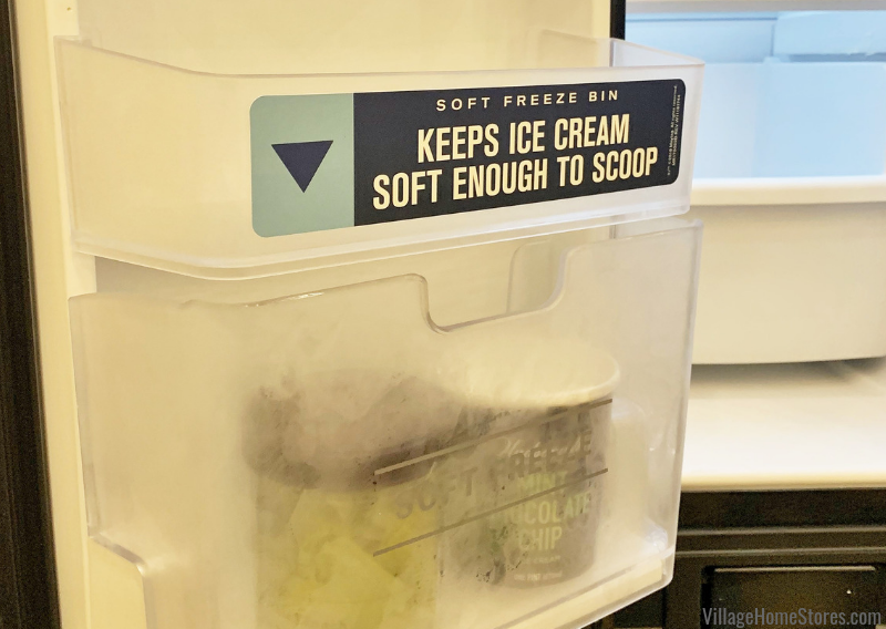 The soft freeze bin in this new Maytag side-by-side refrigerator allows you to keep your ice cream 2-3 degrees warmer than the rest of the freezer space.