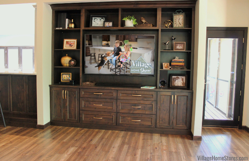 Custom Amish built TV cabinetry in a Quad Cities home. | VillageHomeStores.com