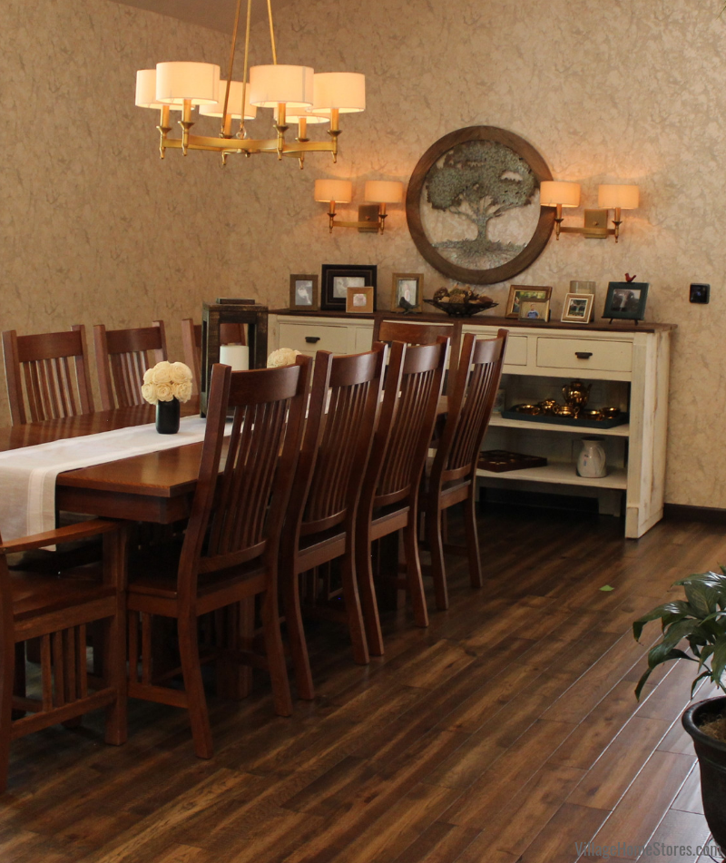 Dining Room with Paramount Rustic Beam flooring and Antique Brass ELK lighting.