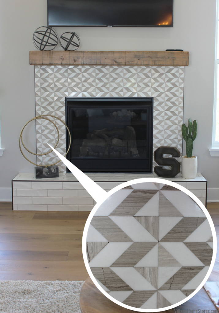 Geometric mosaic wall tile on a modern farmhouse fireplace surround from Village Home Stores in a Quad Cities area home built by Silverthorne Development.