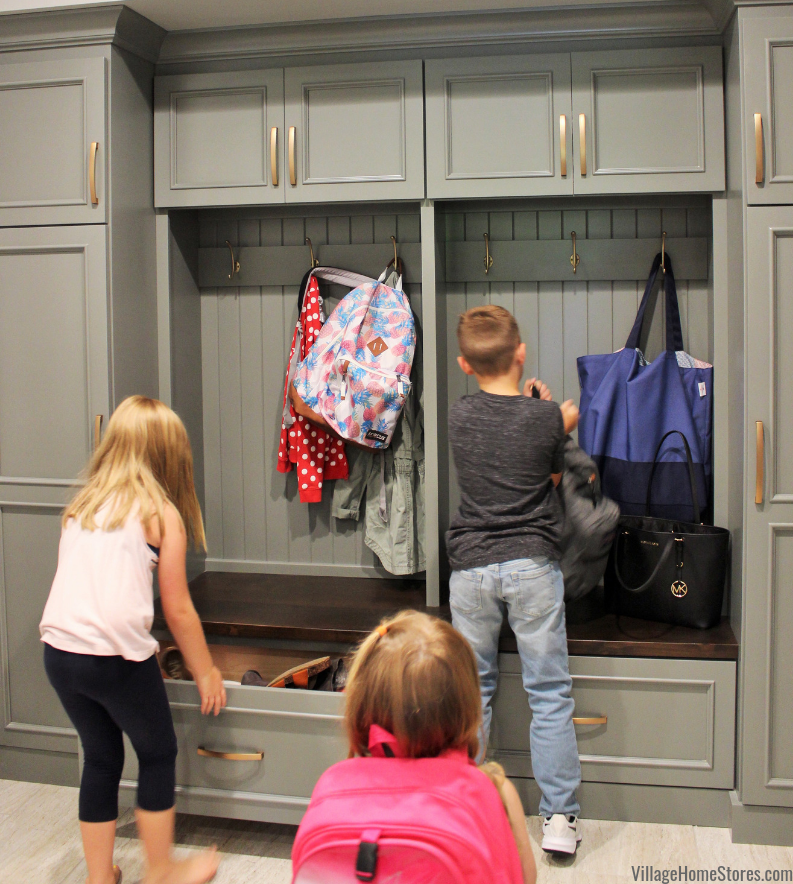 Custom Amish built mudroom storage with shoe drawers in bench. - Village Home Stores.