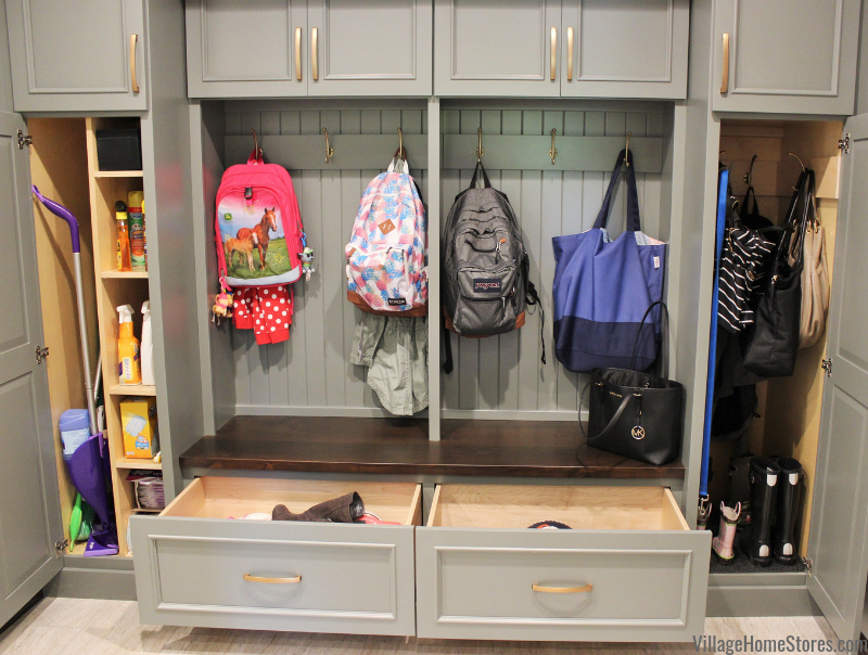 Custom Amish built mudroom storage lockers and bench in a Quad Cities home. -Village Home Stores.