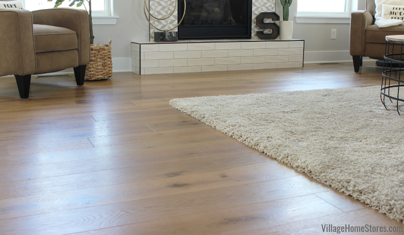 Engineered White Oak flooring from Village Home Stores in a Quad Cities area modern farmhouse built by Silverthorne Development.