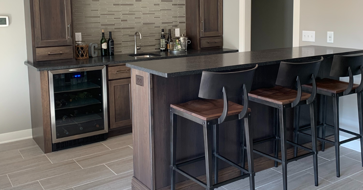 Hickory Wet Bar With Brushed Granite Village Home Stores Blog
