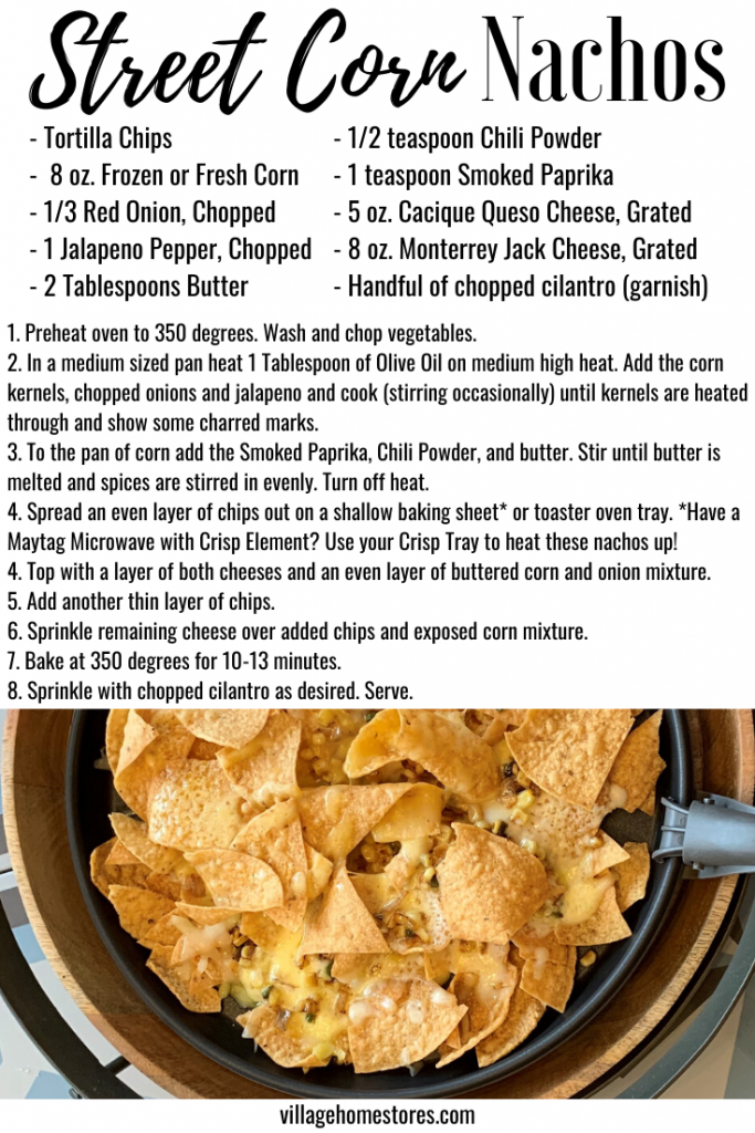 recipe for street corn nachos with images and text