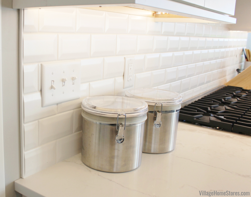 Beveled white subway tiles installed in a Bettendorf Iowa quad cities kitchen.
