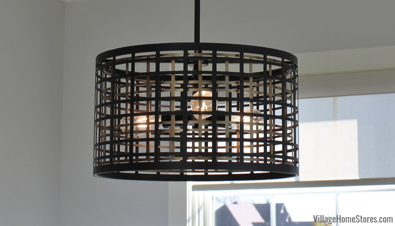 Kichler Aldergate black and gold cage light in a Bettendorf Iowa home.