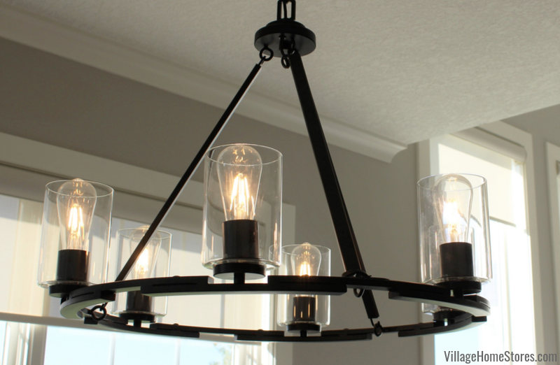 Golden Lighting Monrose chandelier in black finish hangs in a Quad Cities home.