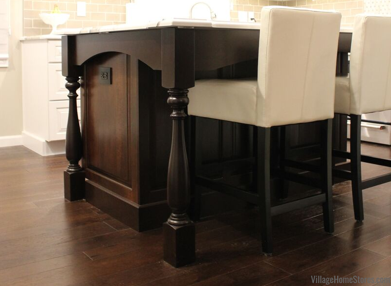 Kitchen island with decorative legs. Complete kitchen remodel by Village Home Stores.