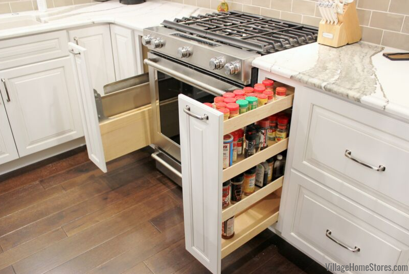 Dura Supreme pullout storage cabinets in a Bettendorf Iowa kitchen remodeled by Village Home Stores.