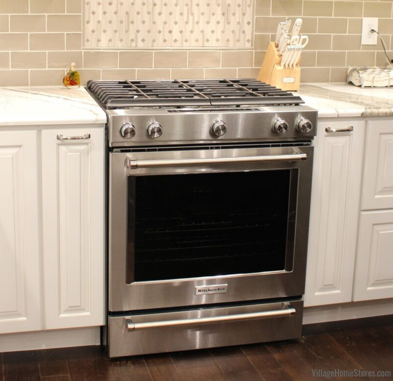 Stainless Steel KitchenAid range in Bettendorf, Iowa kitchen.