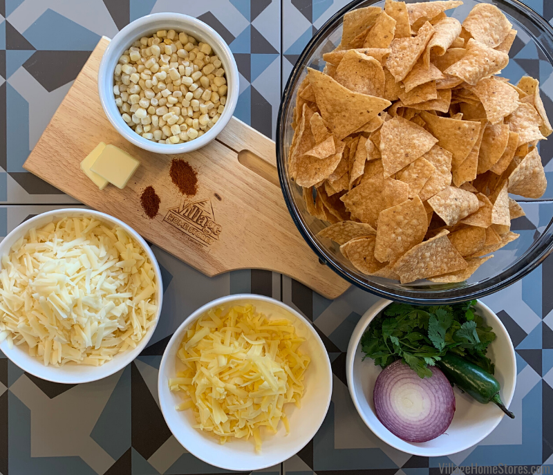 ingredient flatlay for street corn nachos
