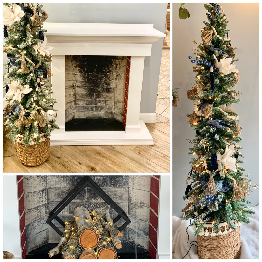 5' pencil tree in basket with faux fireplace and logs.