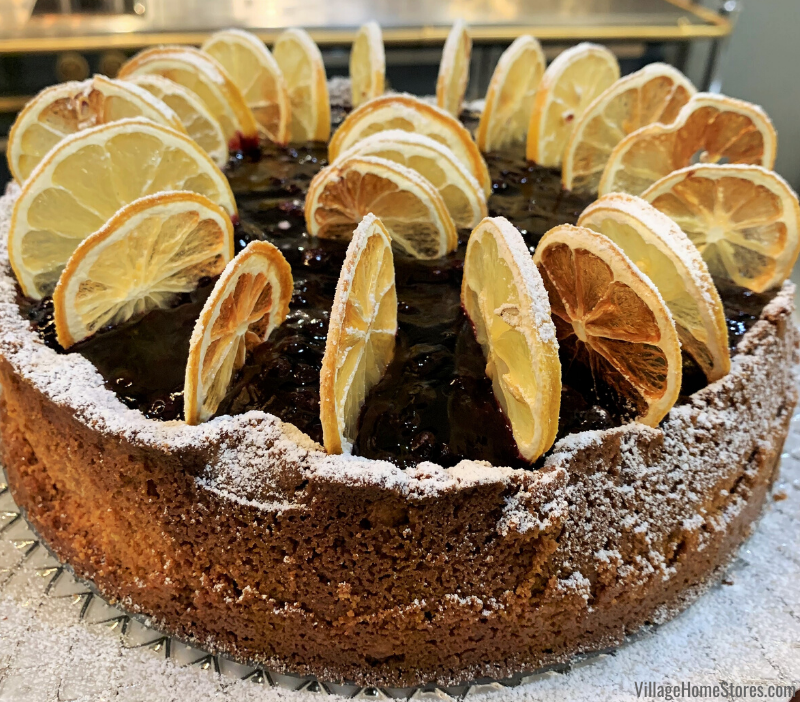 Chef Jaime Laurita cheesecake topped with dehydrated lemons in the Viking showroom