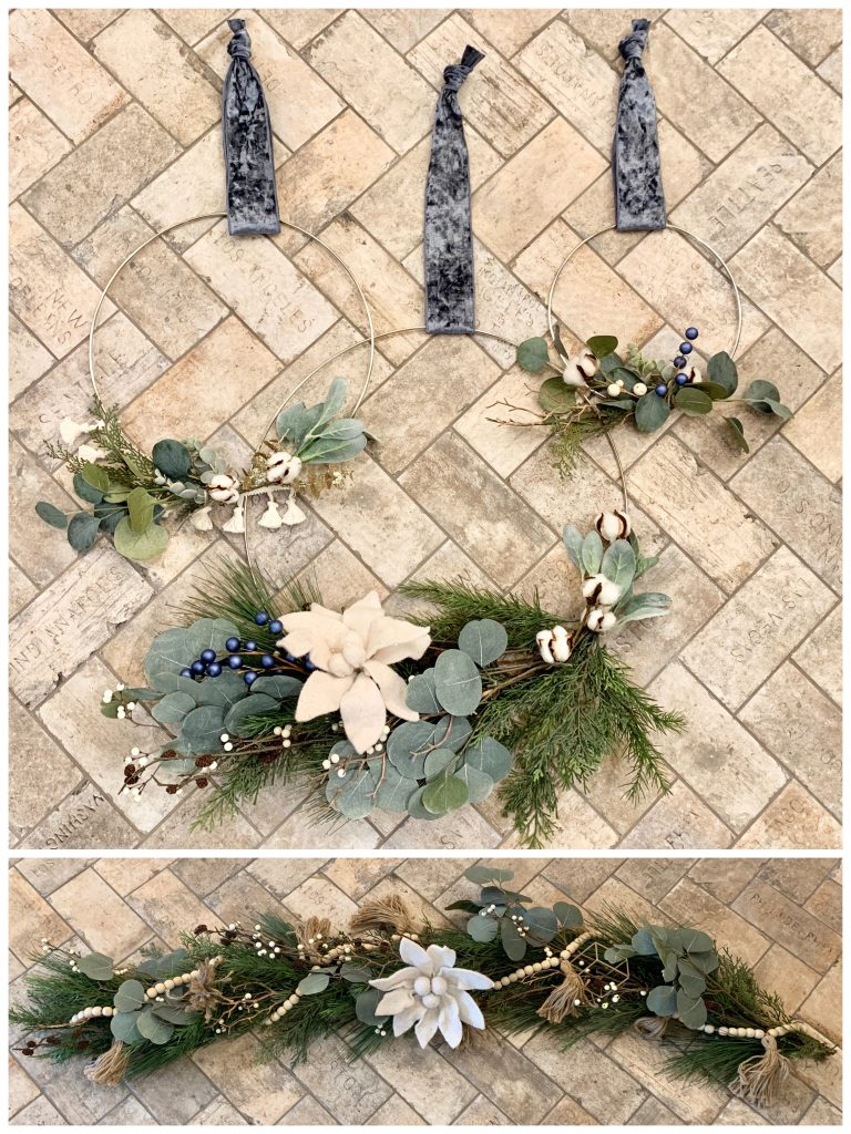 set of hoop wreaths with minimal Scandinavian inspired holiday decor attached