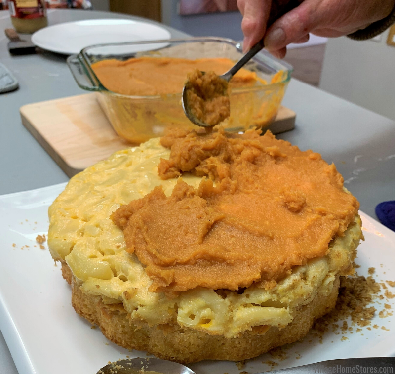 sweet potatoes help bind the layers together in our Thanksgiving side dish cake.