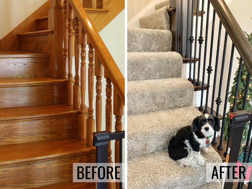 Before and after photos of a Galesburg IL home staircase remodel. Removed golden oak and updating to a gray stain and white paint combination with carpet runner on stairs. - Village Home Stores