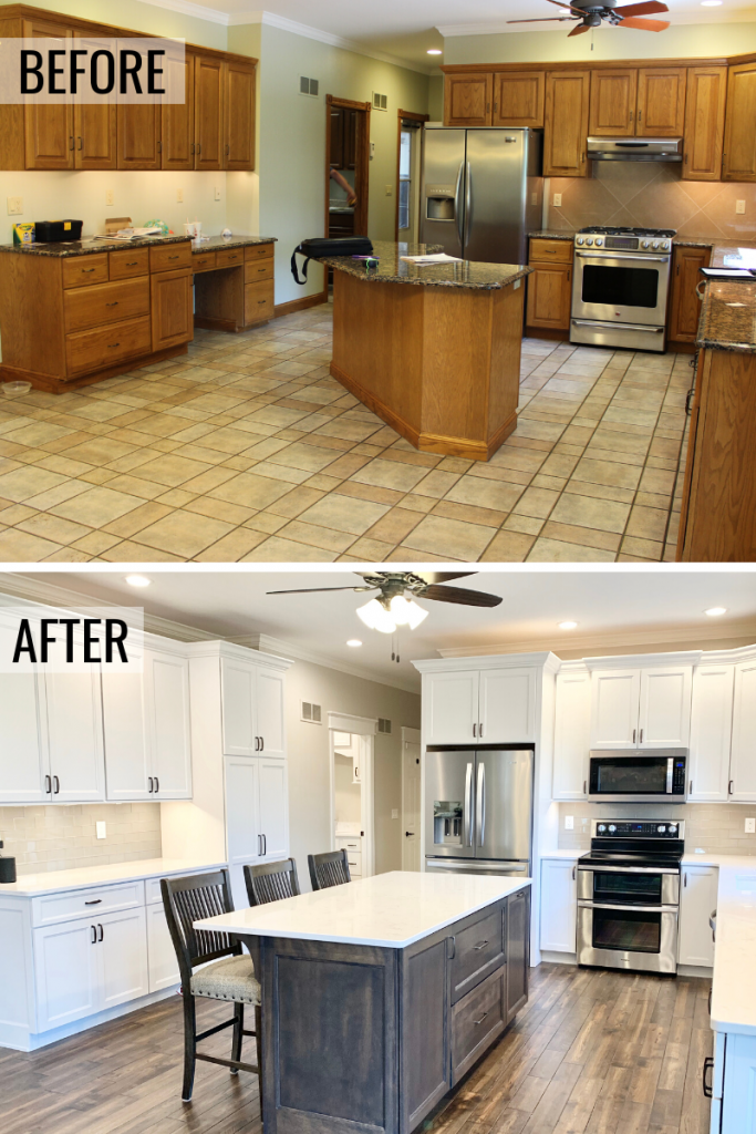 Before and after photos of a Galesburg IL kitchen. We removed dated golden oak and tile and installed an updated white and gray kitchen design. - Village Home Stores