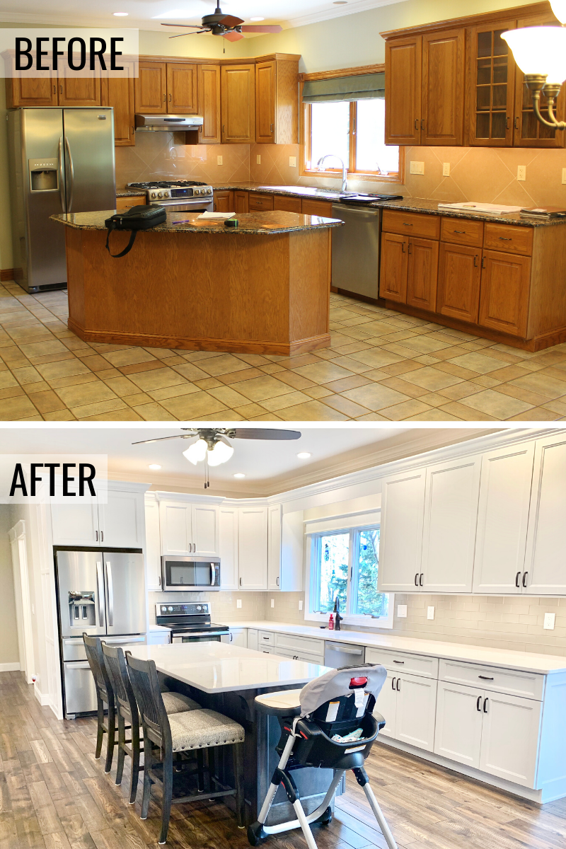 Before and after photos of a Galesburg IL kitchen updated with a white and gray kitchen design. - Village Home Stores