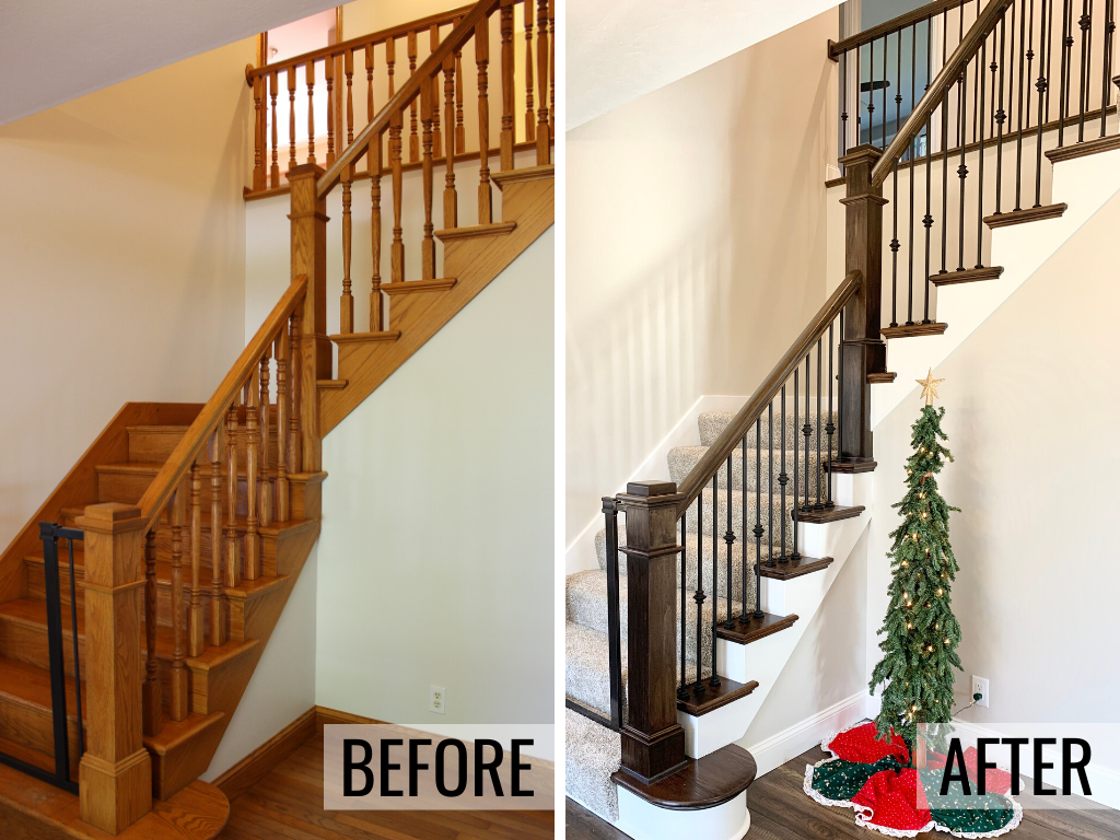Before and after photos of a Galesburg IL home staircase remodel. Removed golden oak and updating to a gray stain and white paint combination with carpet runner and metal and wood bannister. - Village Home Stores