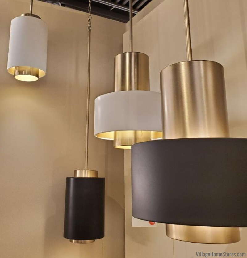 Trending at Lightovation 2020: multi finish pendant lighting. Shown here on Quorum fixtures available at Village Home Stores