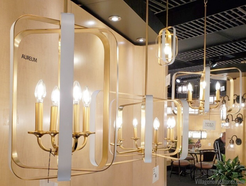 Trending at Lightovation 2020: Combination white and gold finish lighting. Shown here on Minka Lavery fixtures available at Village Home Stores