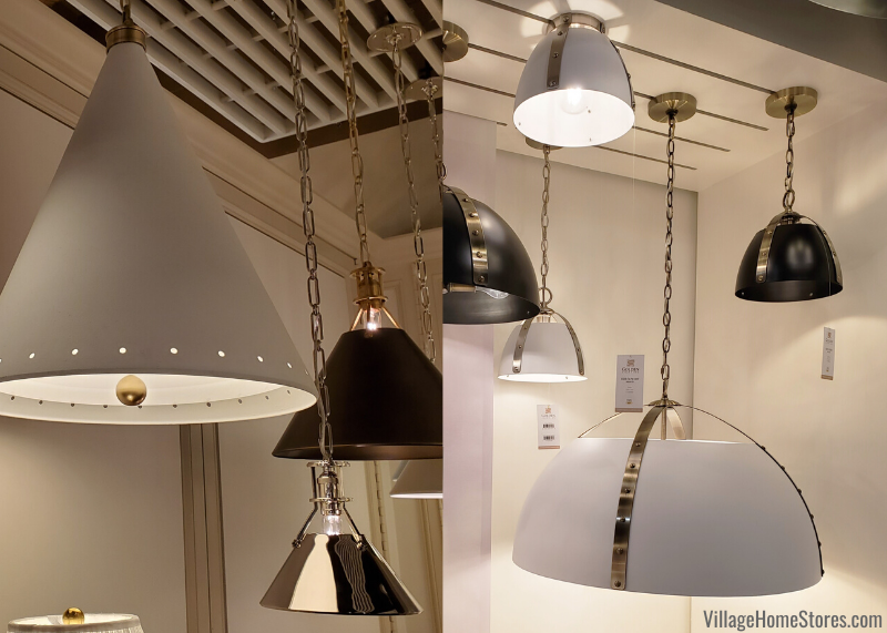 Hudson Valley and Golden Lighting pendants showcasing the cone and dome shape trend.