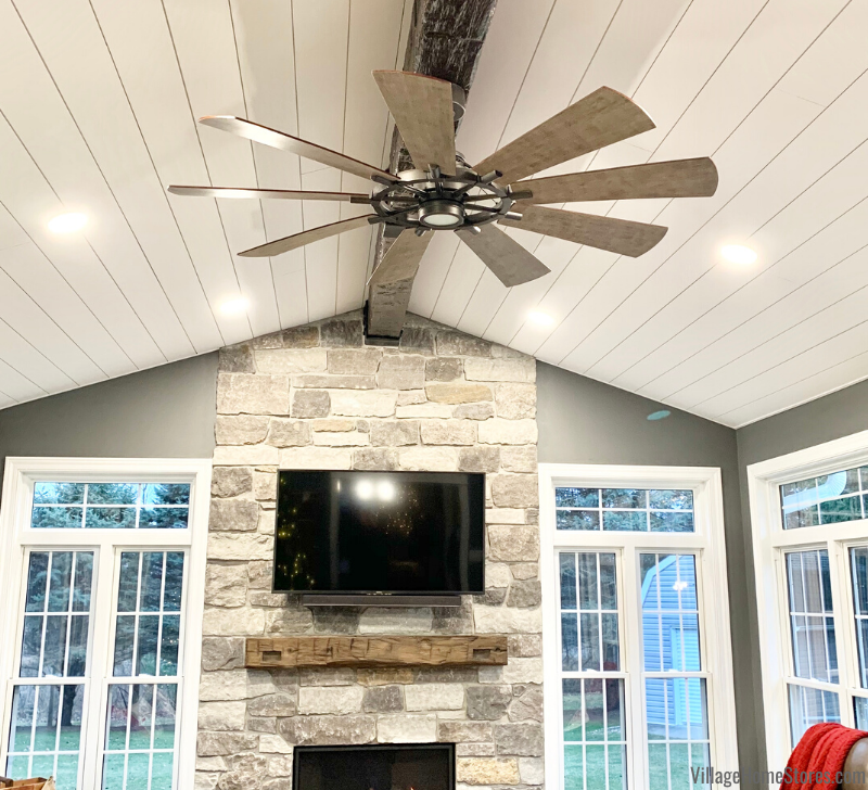 Kichler ceiling fan with remote in a Morrison, IL four seasons room.
