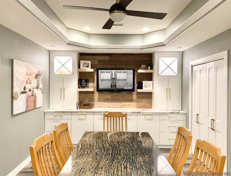 The conference room of kitchen design experts Village Home Stores at 105 S State Geneseo IL.