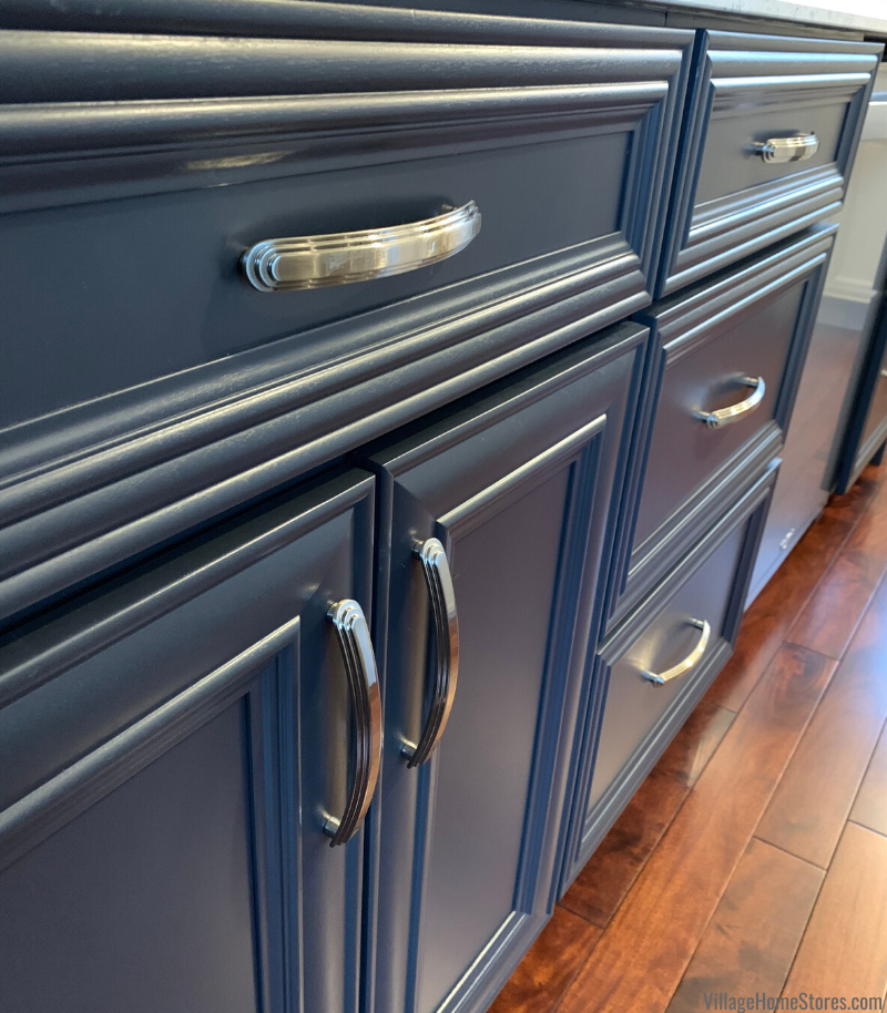Koch Cabinetry in the Legacy door and painted Charcoal Blue finish. JA Calloway Satin Nickel handles are the perfect pairing with the door edge details.