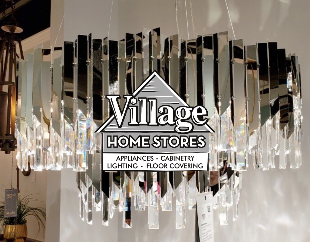 modern chandelier light with village home stores logo overlay