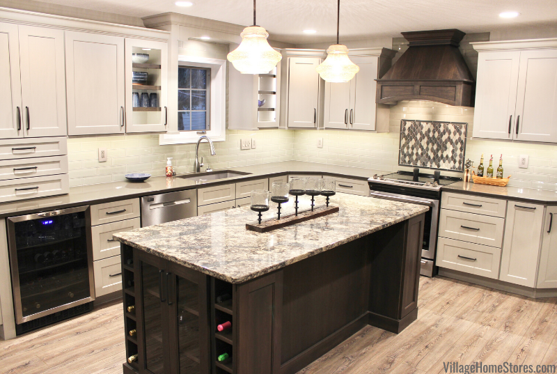 Two tone kitchen with island in a remodeled Morrison, IL home.