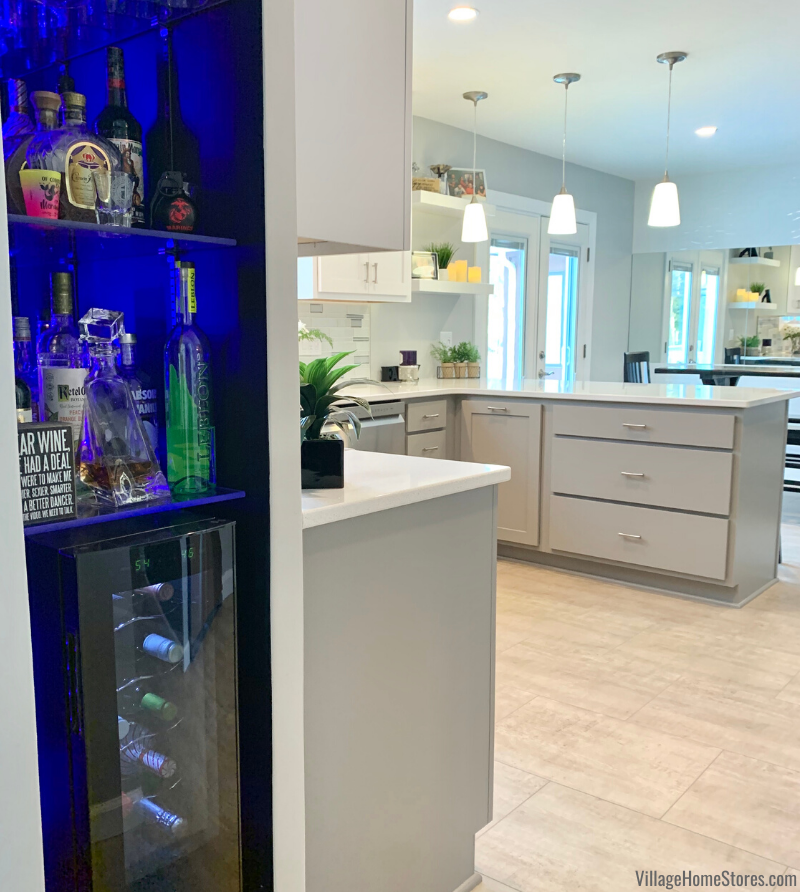 What a fun use of this small space! Check out this customer's bar area in a hallway near the new kitchen.