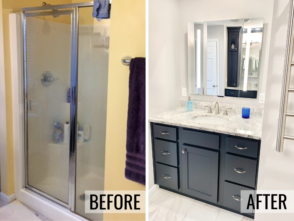 Side by side of an old shower area transformed into a second bathroom vanity in Bettendorf, Iowa