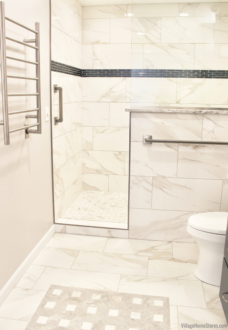 tiled walk in shower with mirror accent tile stripe