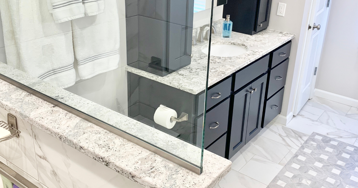 vanity and shower half wall