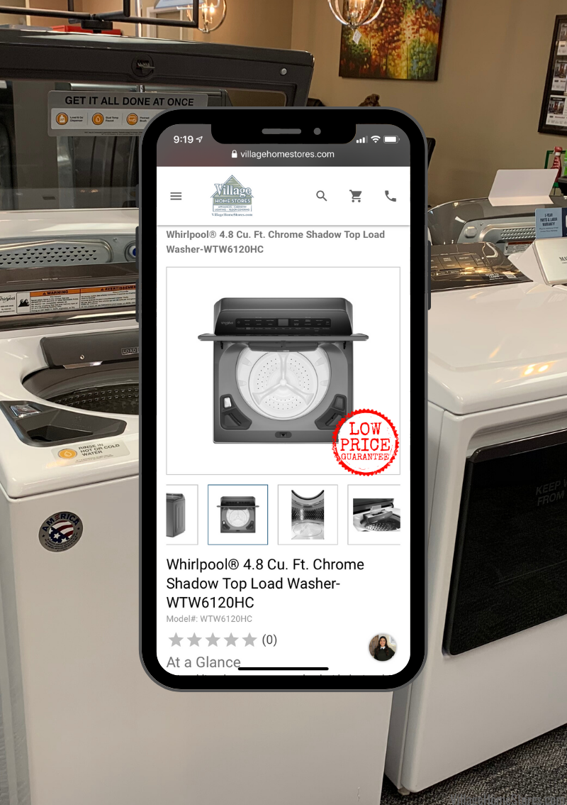 New Whirlpool top load laundry with pretreat station plus. Available at Village Home Stores and villagehomestores.com