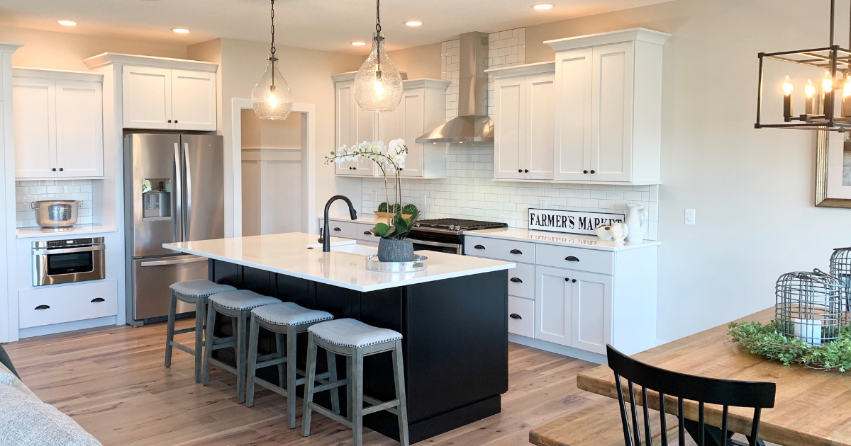 black island and white kitchen