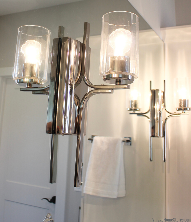 Polished Chrome Manhattan wall sconce by Capital Lighting installed through a mirror in a Bettendorf, Iowa principal bathroom.