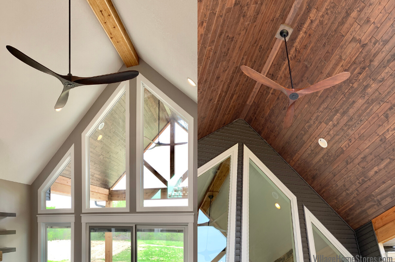 Damp rated indoor outdoor ceiling fans from the Maverick Series in a new home in Aledo, IL. Lighting by Village Home Stores for Bagby Construction