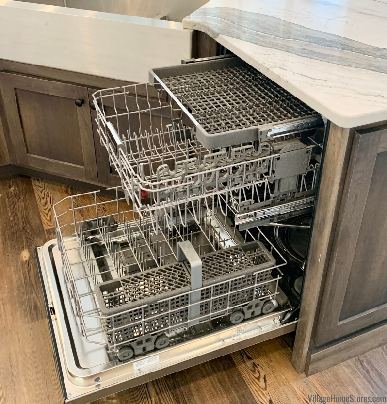 KitchenAid three level rack dishwasher in a kitchen island design.